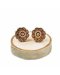 Wooden earrings Mandala - Flower
