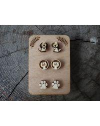 Uhančki - darilni komplet leseni kuža, muca, tačke